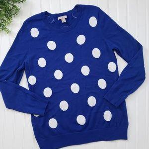Banana Republic Blue White Polka Dot Sweater XL